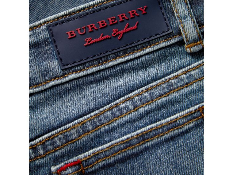Relaxed Fit Stretch Denim Jeans in Mid Indigo | Burberry - cell image 1