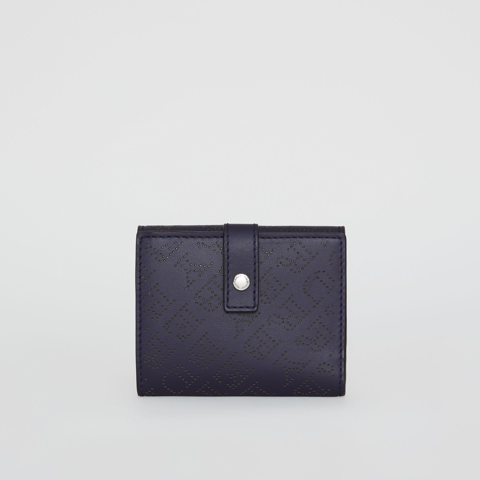 Small Perforated Logo Leather Wallet in Navy - Women | Burberry Canada - gallery image 2