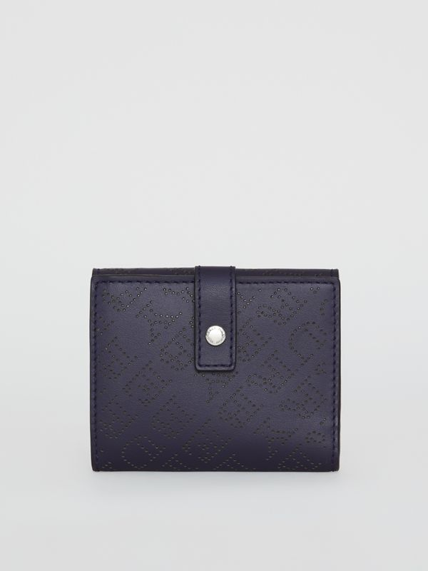 Small Perforated Logo Leather Wallet in Navy - Women | Burberry United Kingdom - cell image 2