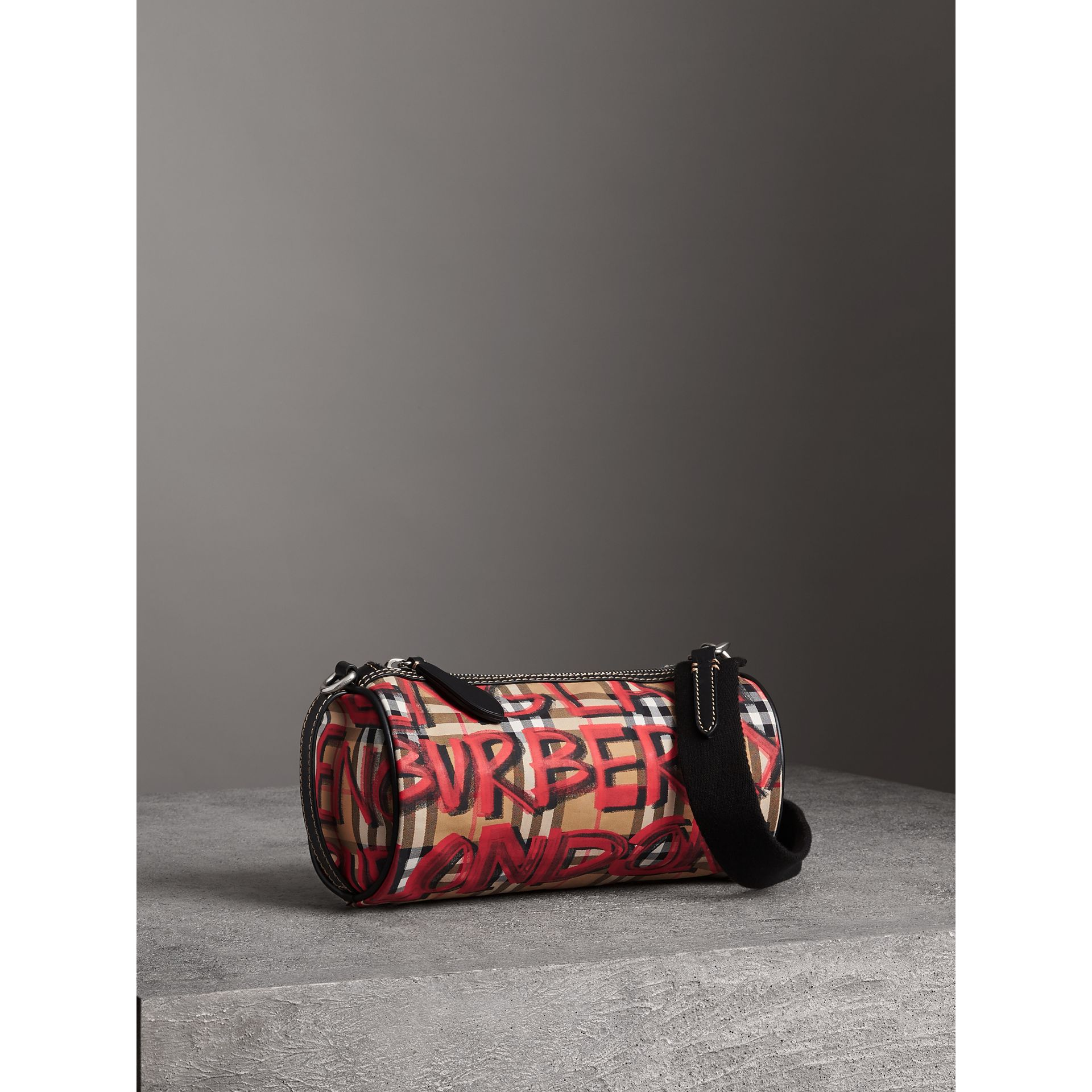 The Small Graffiti Print Vintage Check Barrel Bag in Black - Women | Burberry United Kingdom - gallery image 6