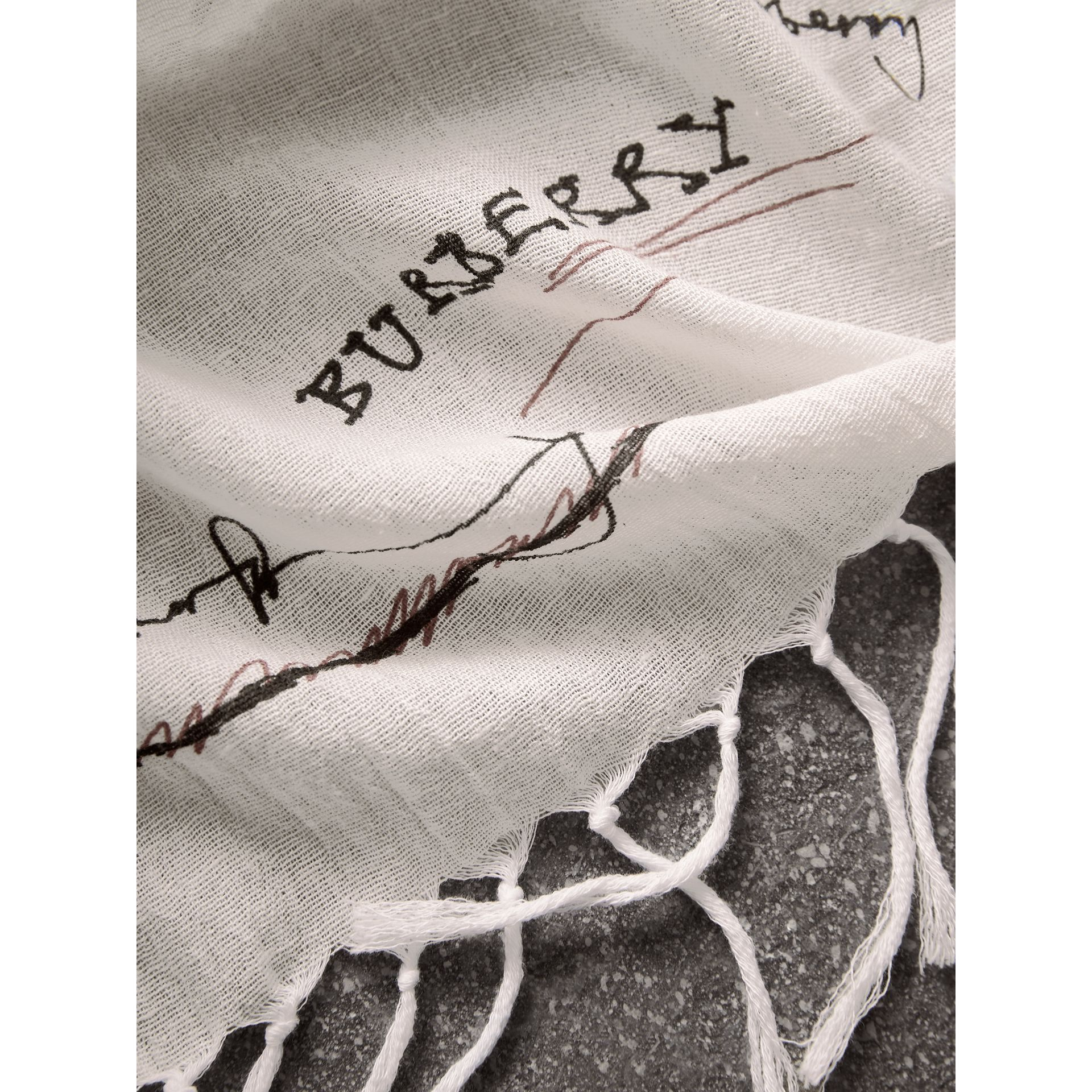 Doodle Print Silk Cotton Square Scarf in Red/white | Burberry Hong Kong - gallery image 2