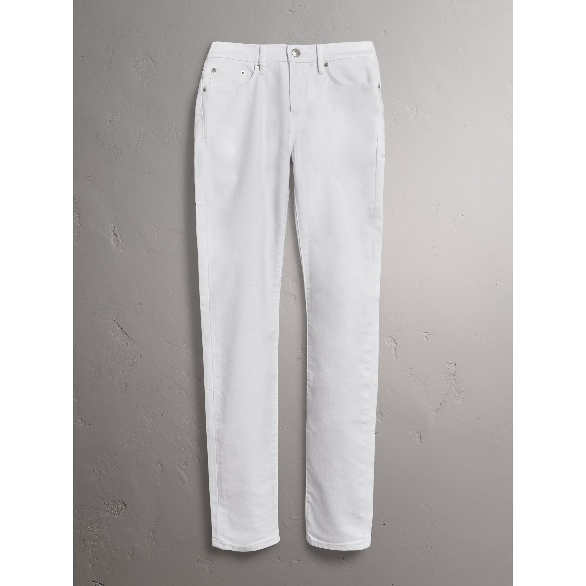 Slim Fit Stretch Japanese Denim Jeans in White - Men | Burberry United States - gallery image 4