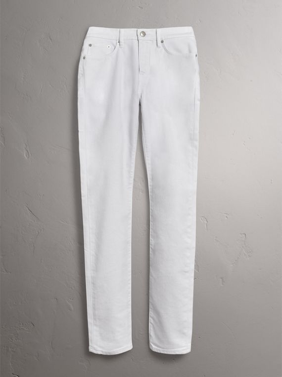 Slim Fit Stretch Japanese Denim Jeans in White - Men | Burberry - cell image 3