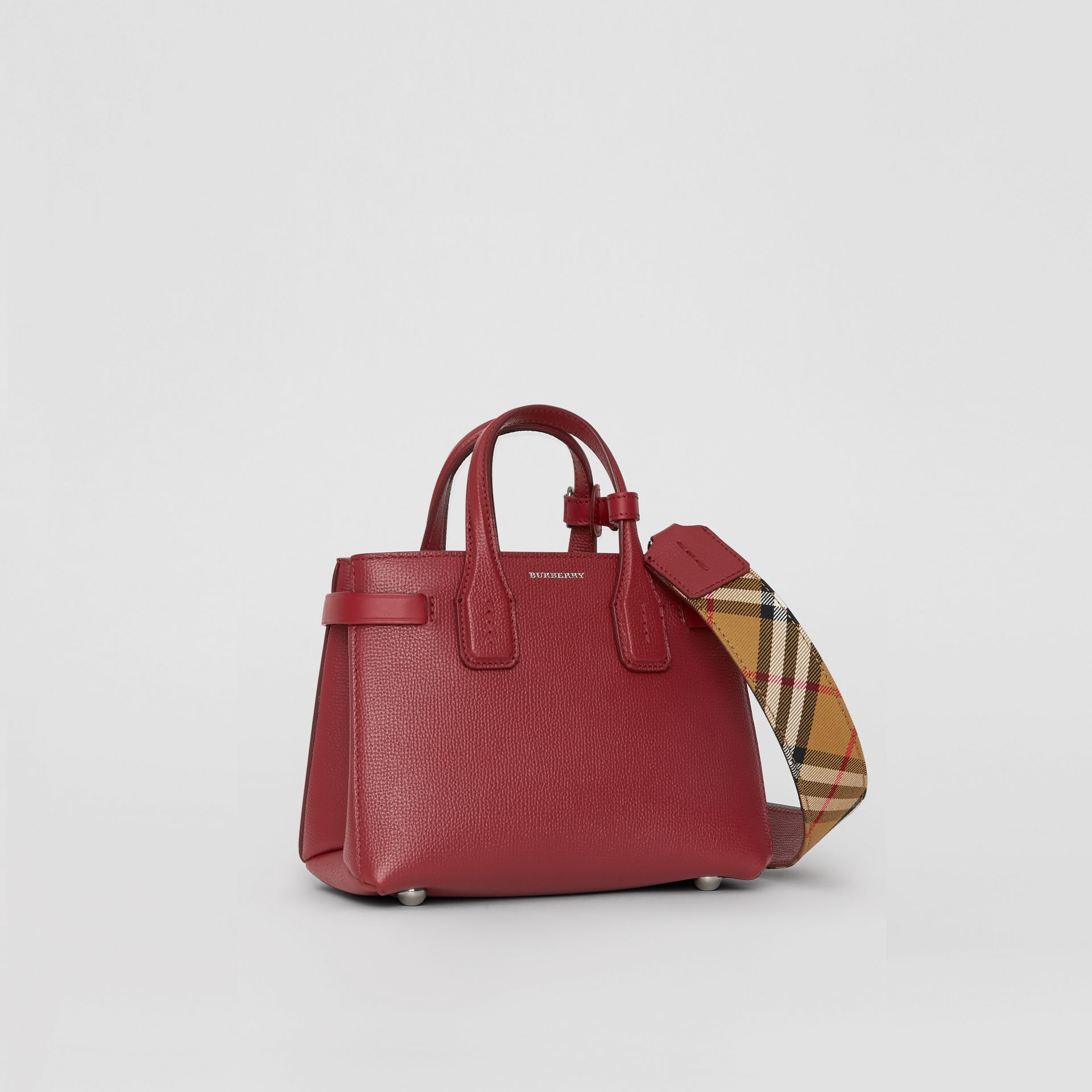 The Baby Banner in Leather and Vintage Check in Crimson - Women | Burberry - gallery image 0