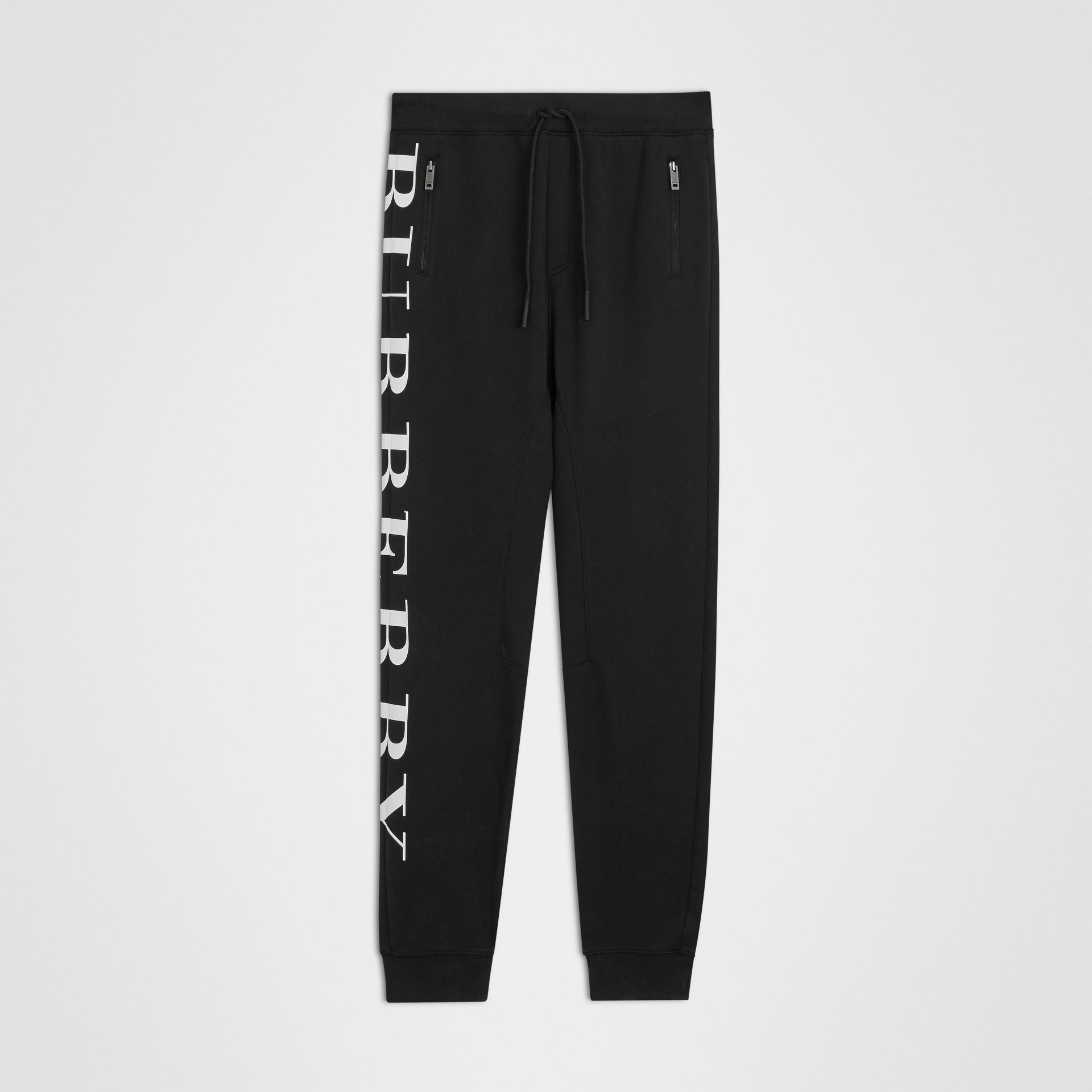 Logo Print Cotton Trackpants in Black | Burberry Singapore - gallery image 0