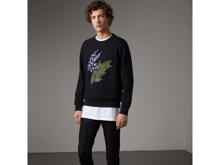 Beasts Motif Cotton Sweatshirt - Men | Burberry Australia - cell image 4