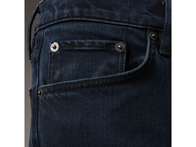 Straight Fit Stretch Denim Jeans in Dark Indigo - Men | Burberry - cell image 4