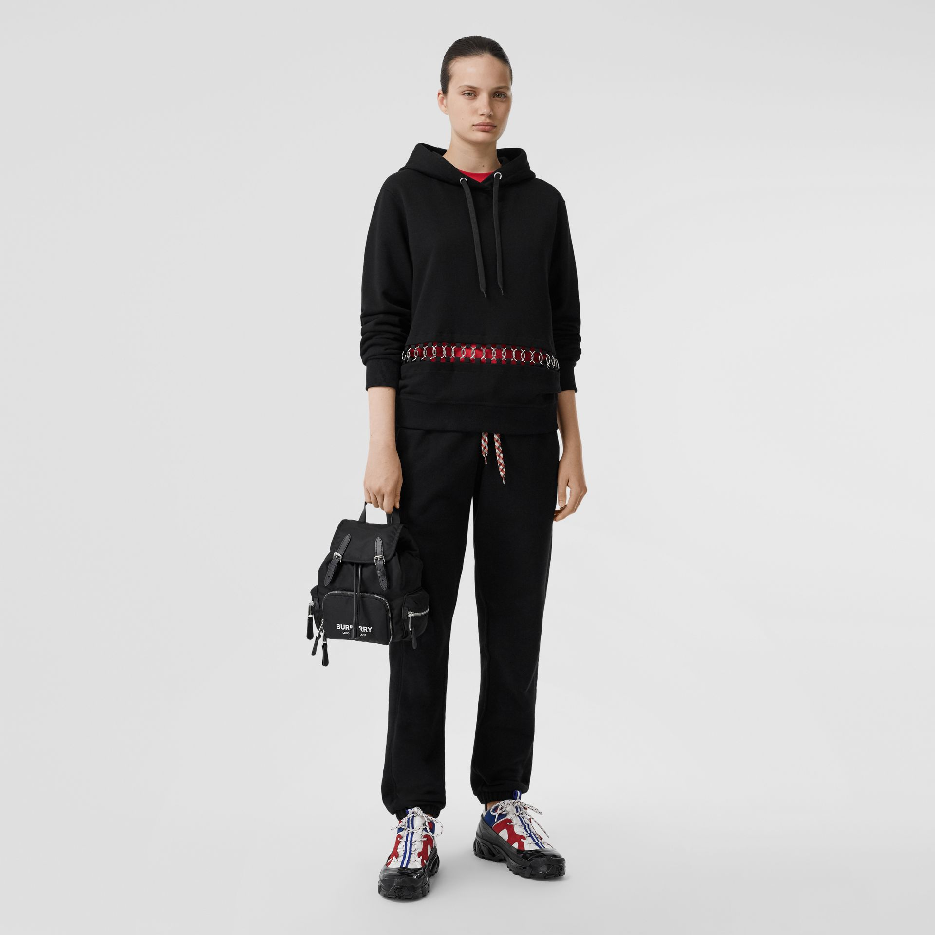 The Small Rucksack in Logo Print ECONYL® in Black - Women | Burberry United Kingdom - gallery image 5