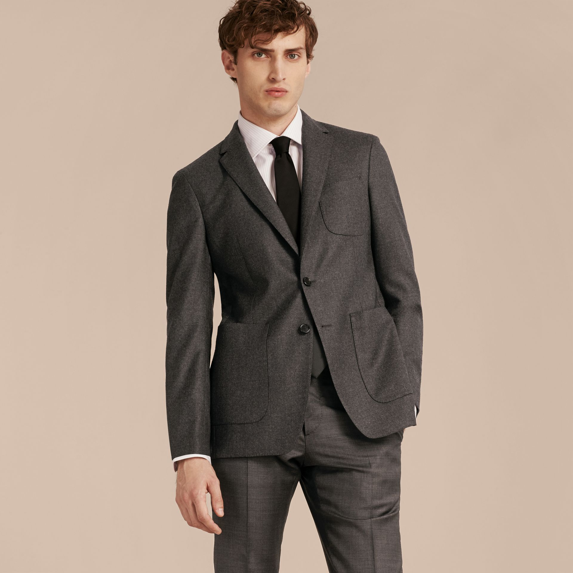 Dark grey melange Modern Fit Tailored Wool Jacket - gallery image 7