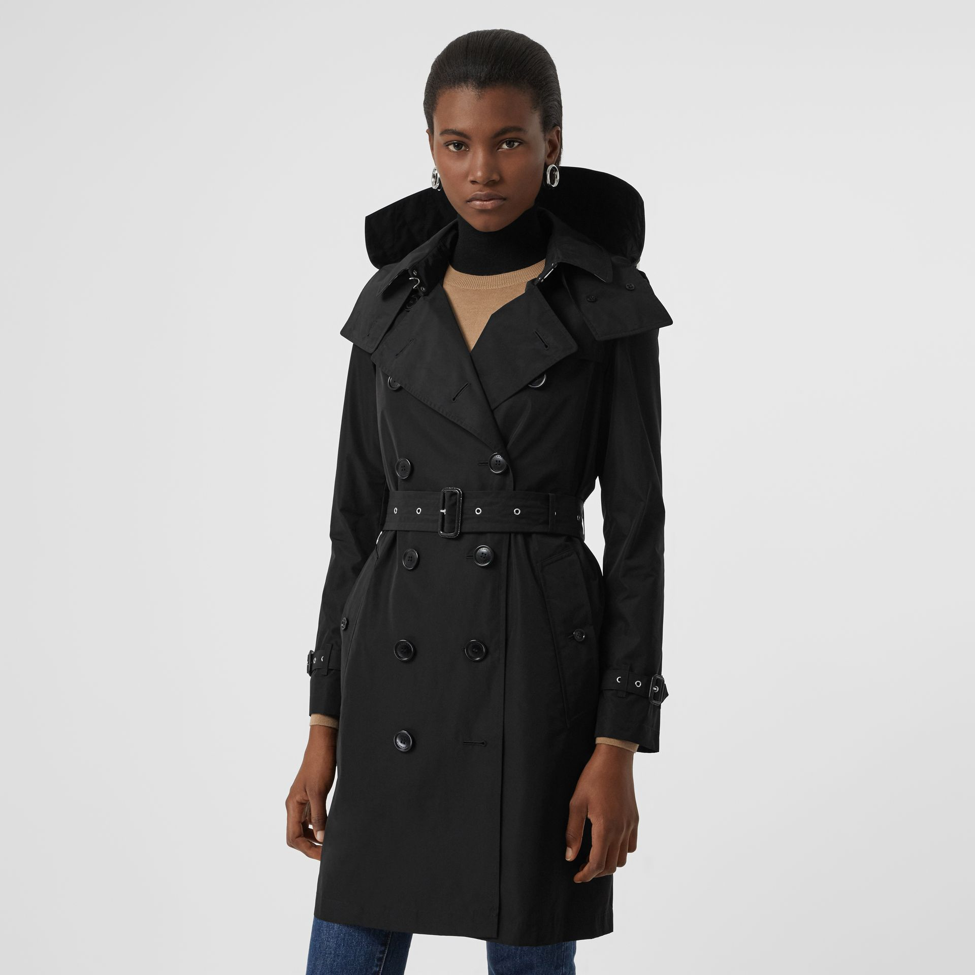 Detachable Hood Taffeta Trench Coat in Black - Women | Burberry Australia - gallery image 0