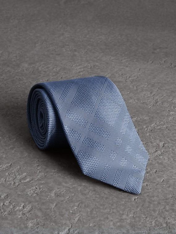 Classic Cut Check Silk Jacquard Tie in Sky Blue