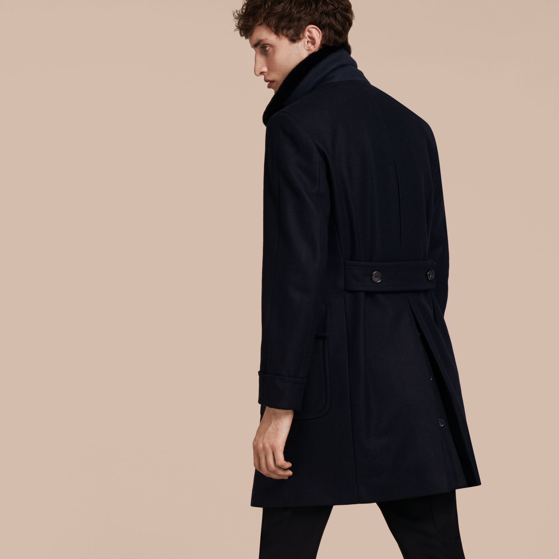 Navy Double-breasted Technical Wool Cashmere Fur Collar Coat - gallery image 3