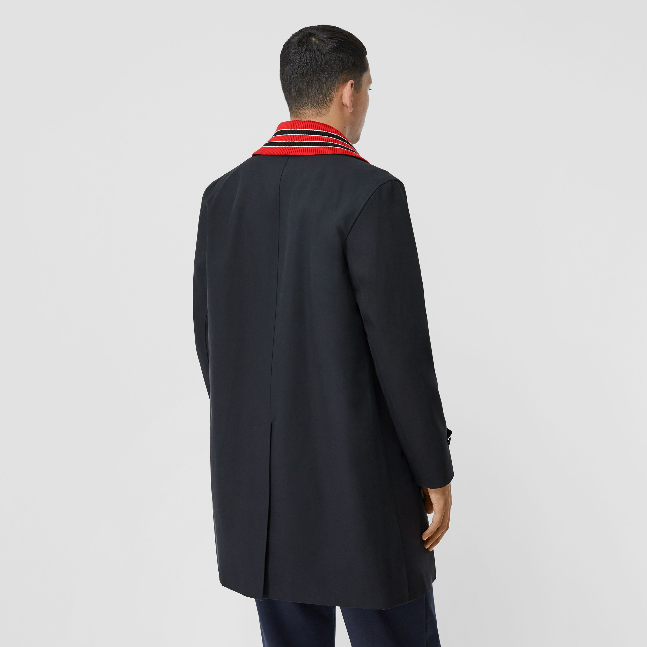 Detachable Striped Collar Cotton Car Coat in Navy - Men | Burberry - 3