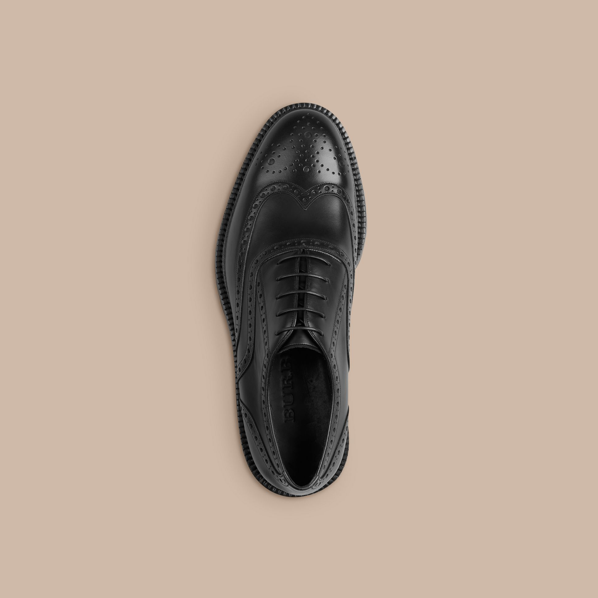 Black Leather Wingtip Brogues With Rubber Sole Black - gallery image 3
