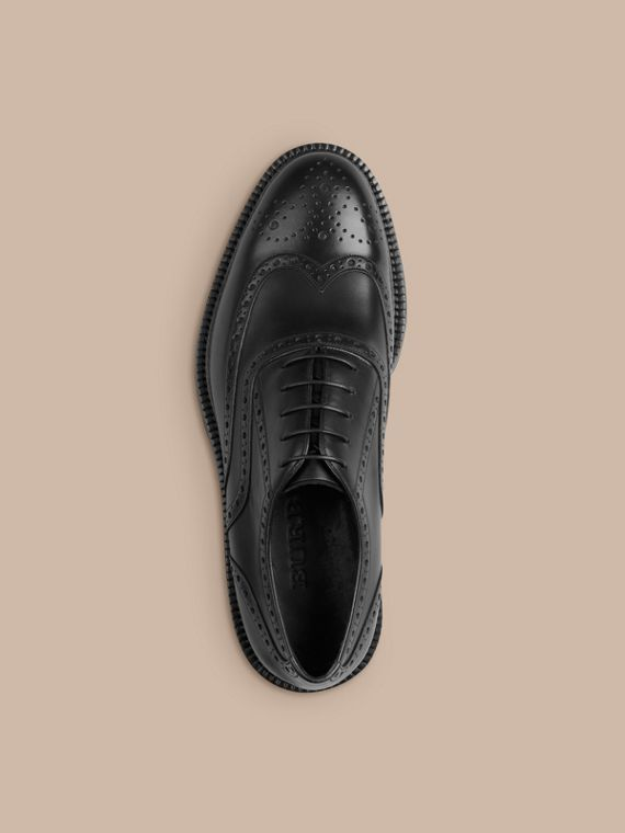 Black Leather Wingtip Brogues With Rubber Sole Black - cell image 2