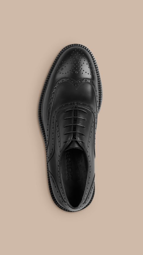 Black Leather Wingtip Brogues With Rubber Sole Black - Image 3