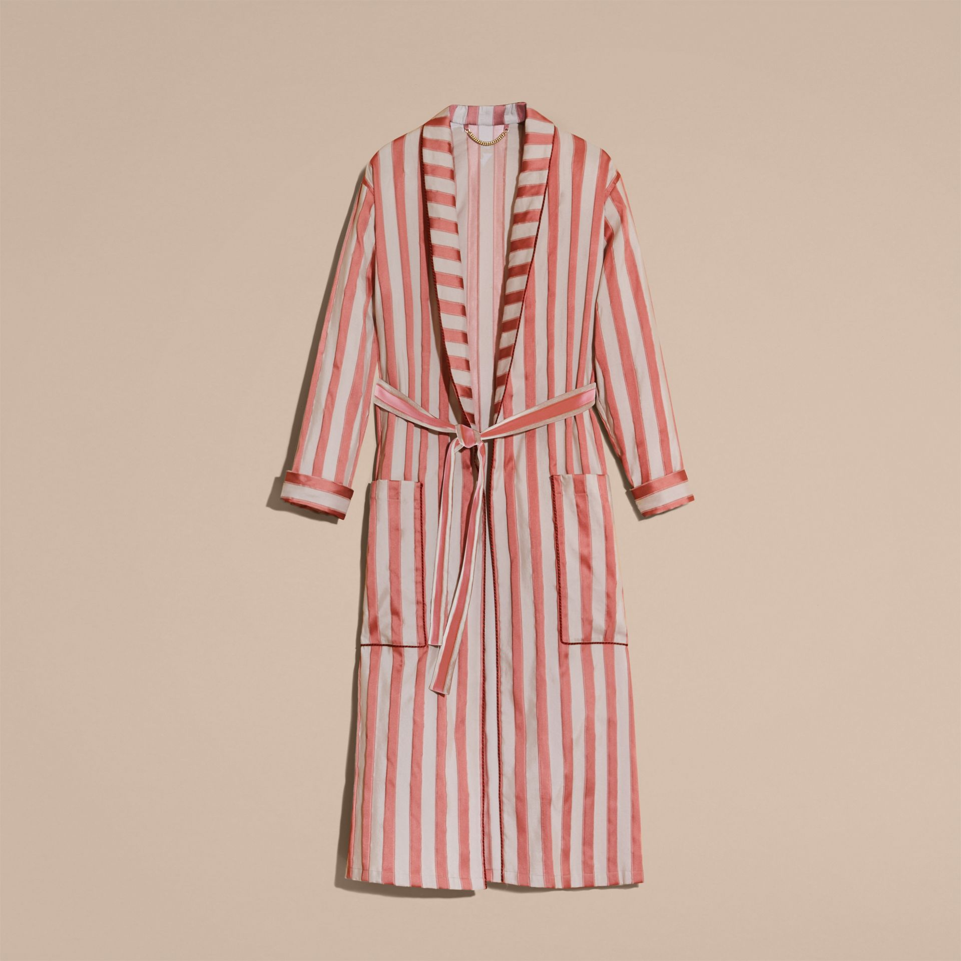 Antique blush Panama Stripe Cotton Silk Blend Dressing Gown Coat - gallery image 4