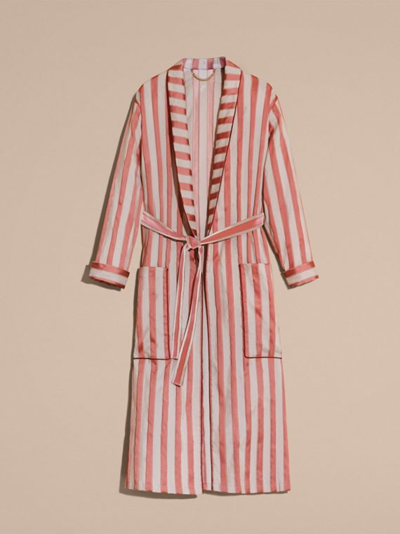 Antique blush Panama Stripe Cotton Silk Blend Dressing Gown Coat - cell image 3