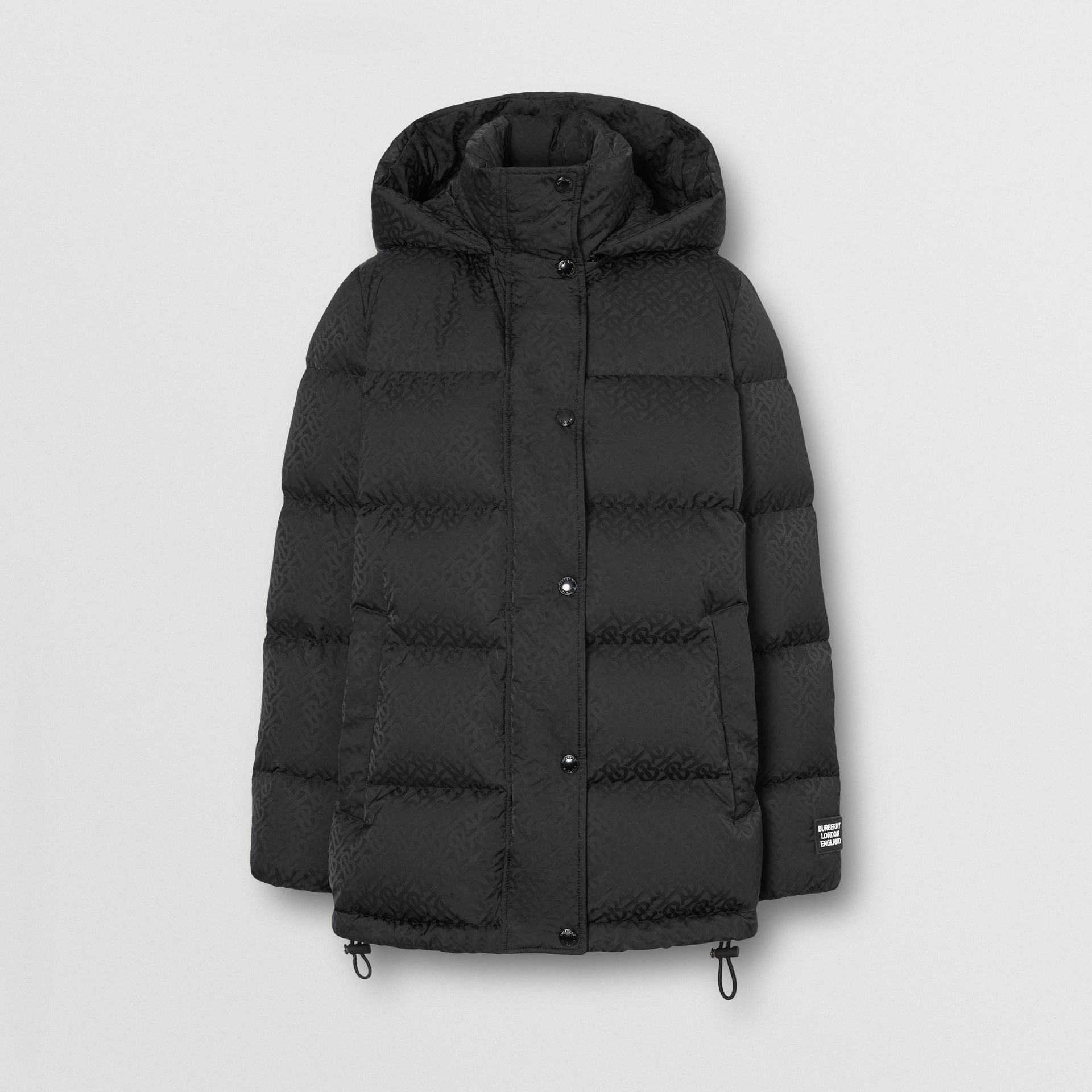 Detachable Hood Monogram ECONYL® Puffer Jacket in Black - Women | Burberry - gallery image 3