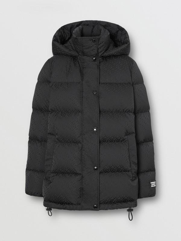 Detachable Hood Monogram ECONYL® Puffer Jacket in Black - Women | Burberry - cell image 3