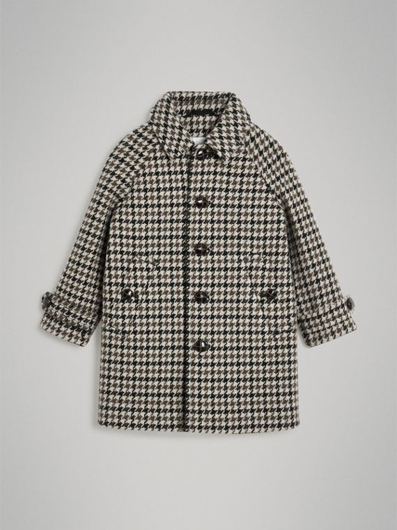 Houndstooth Check Wool Cashmere Blend Coat in Mid Grey