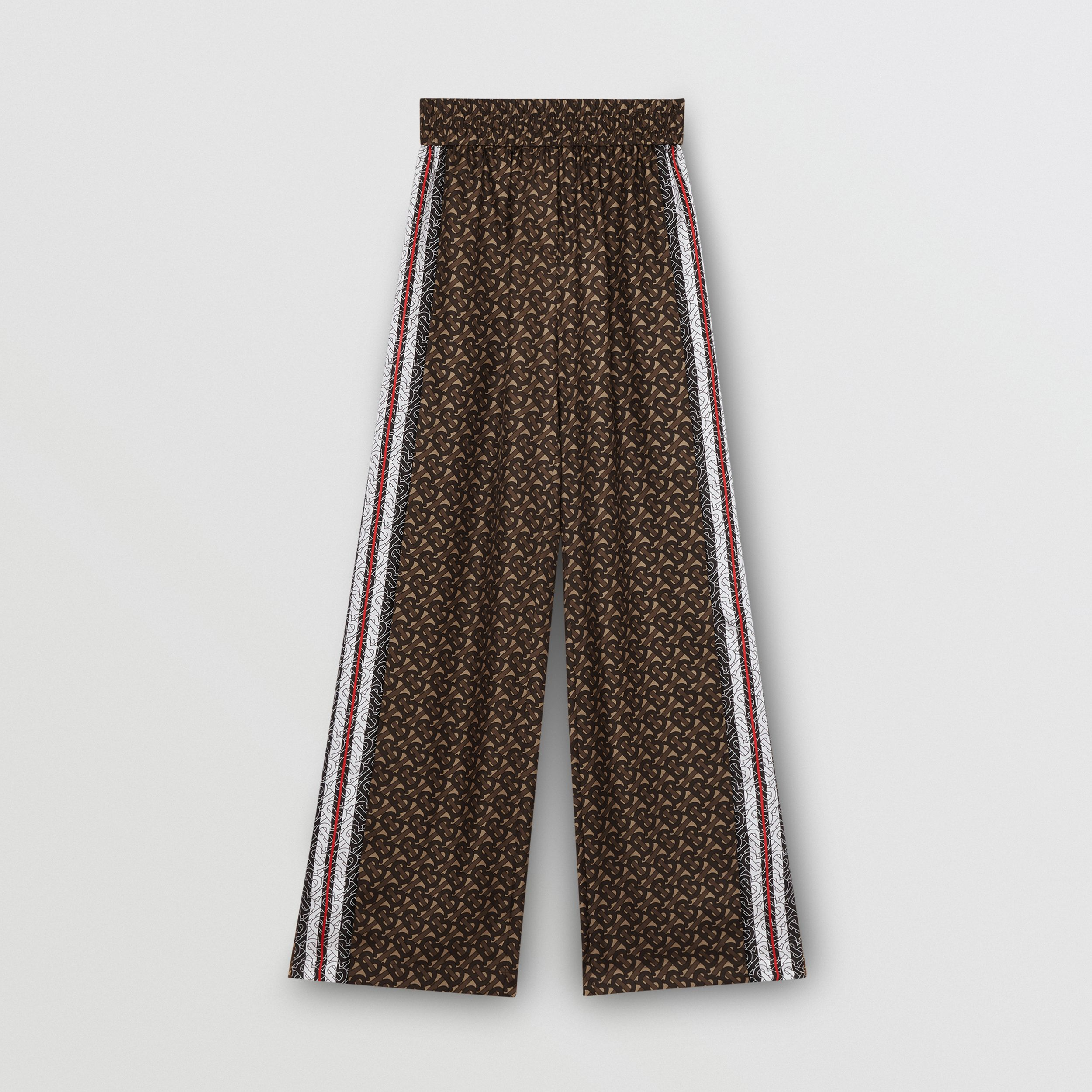Monogram Stripe Print Silk Wide-leg Trousers in Bridle Brown - Women | Burberry - 4
