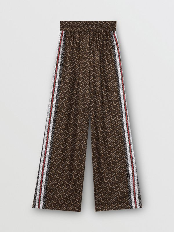 Monogram Stripe Print Silk Trousers in Bridle Brown - Women | Burberry - cell image 3