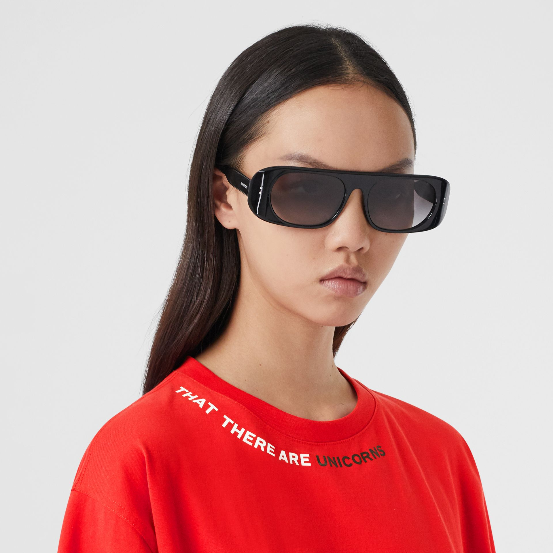 Quote Print Cotton Oversized T-shirt in Bright Red - Women | Burberry - gallery image 1