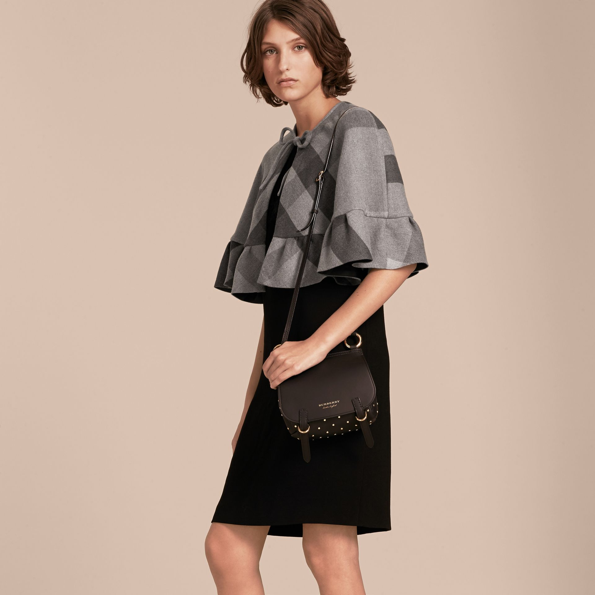 Charcoal Ruffled Hem Check Wool Cape Charcoal - gallery image 6