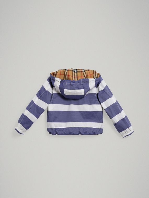 Reversible Stripe and Vintage Check Cotton Jacket in Navy/white - Boy | Burberry - cell image 3