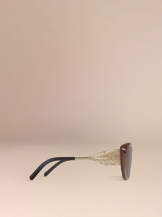 Dark amber Gabardine Collection Square Frame Sunglasses Dark Amber - cell image 3