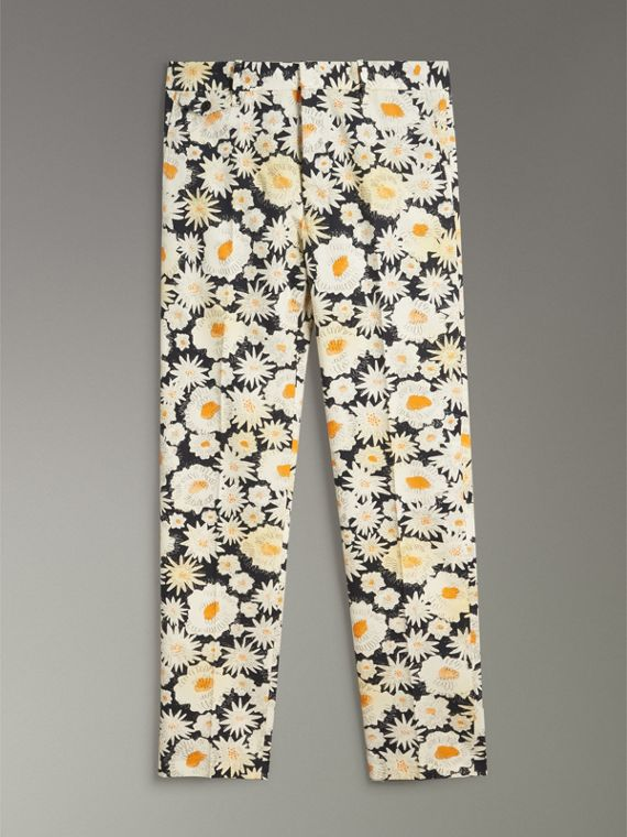 Daisy Print Cotton Tailored Trousers in Black - Men | Burberry - cell image 3