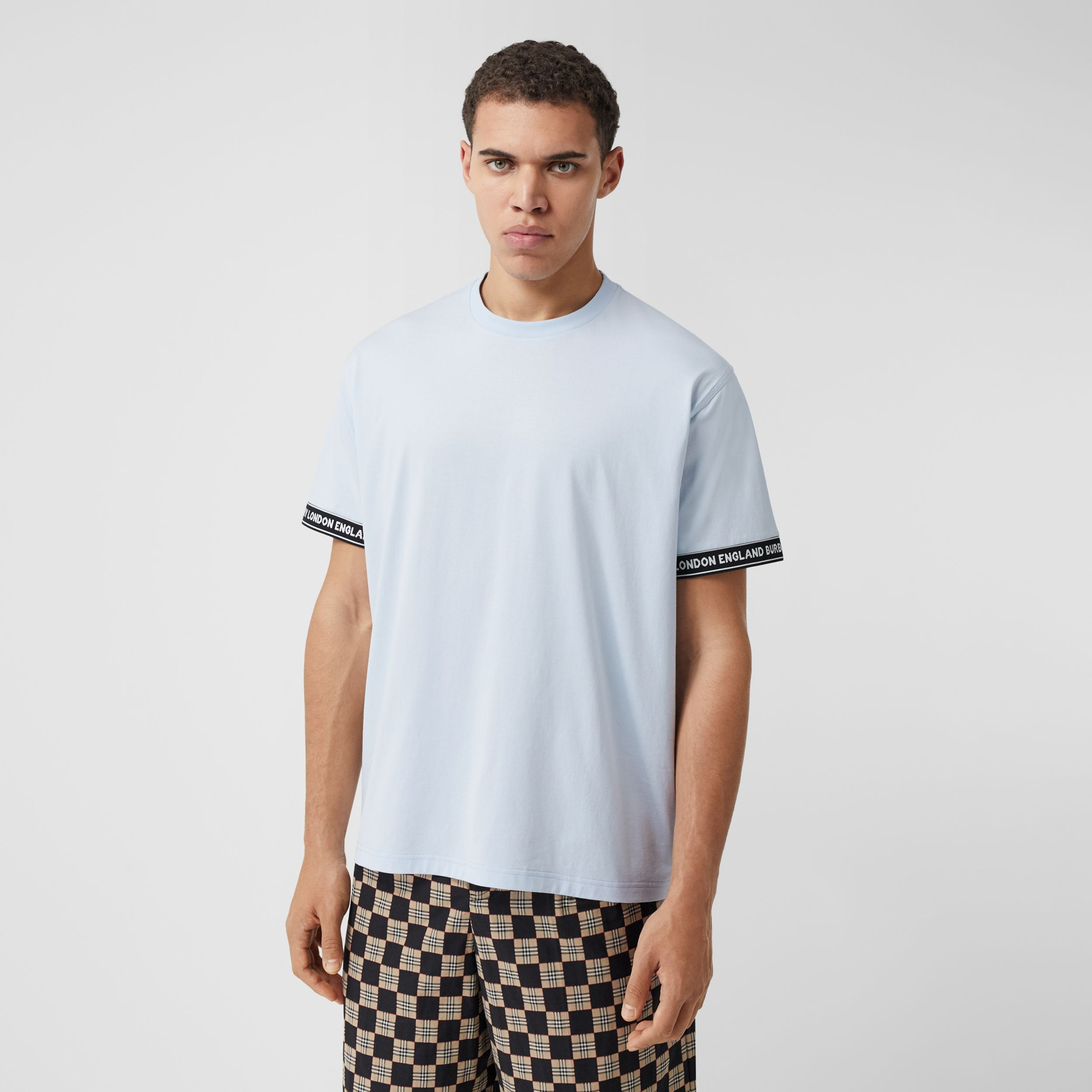Logo Tape Cotton Oversized T-shirt in Pale Blue - Men | Burberry Canada - 1