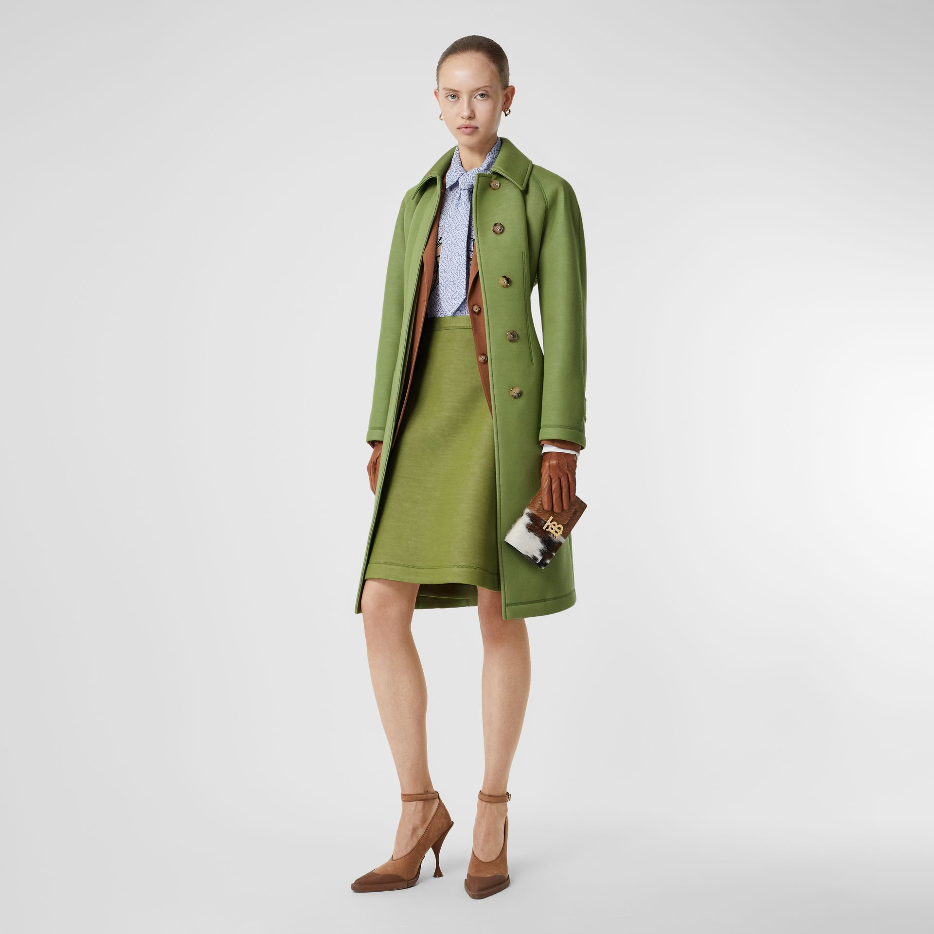Double-faced Neoprene Skirt in Cedar Green - Women | Burberry - gallery image 4
