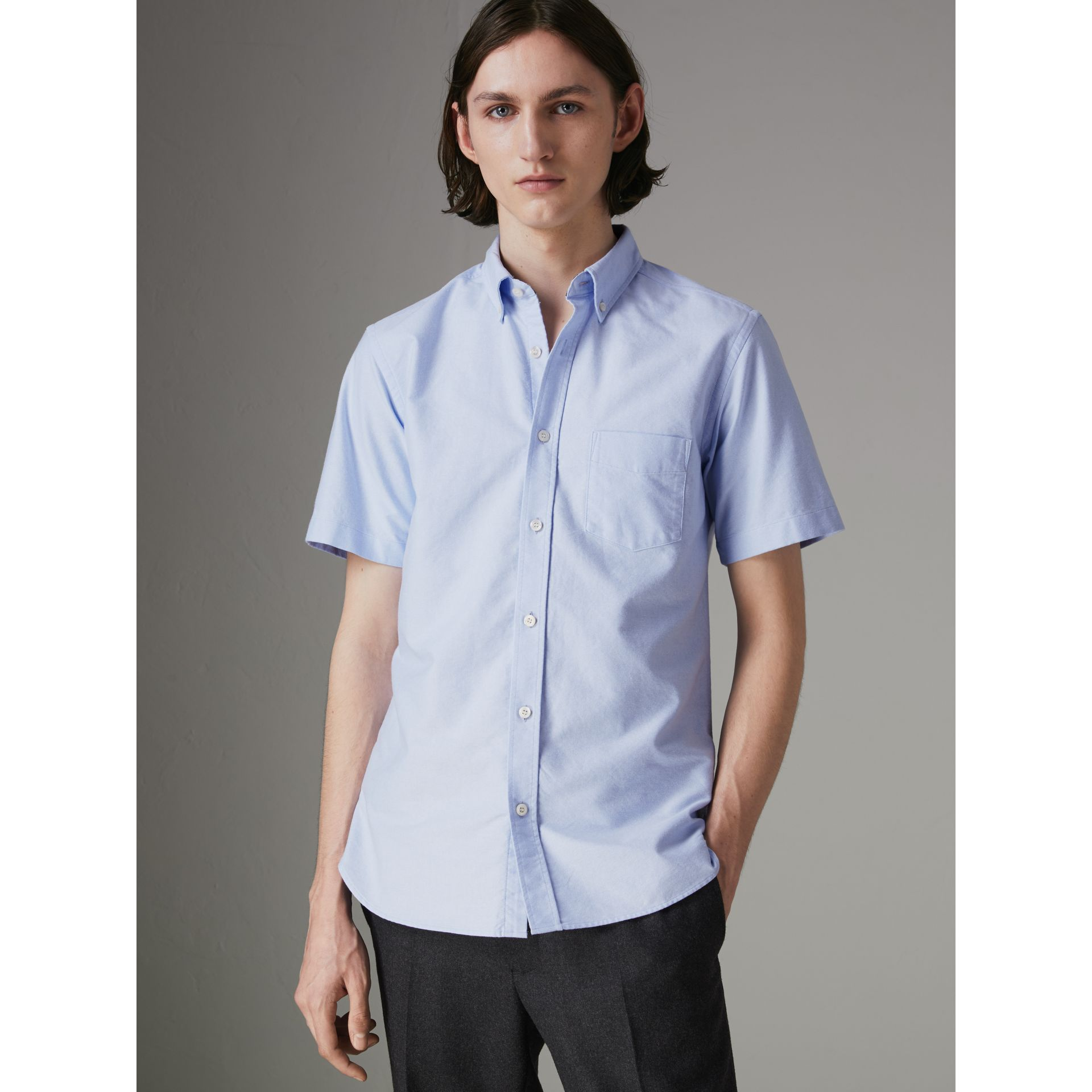 Short-sleeve Cotton Oxford Shirt in Cornflower Blue - Men | Burberry Hong Kong - gallery image 0