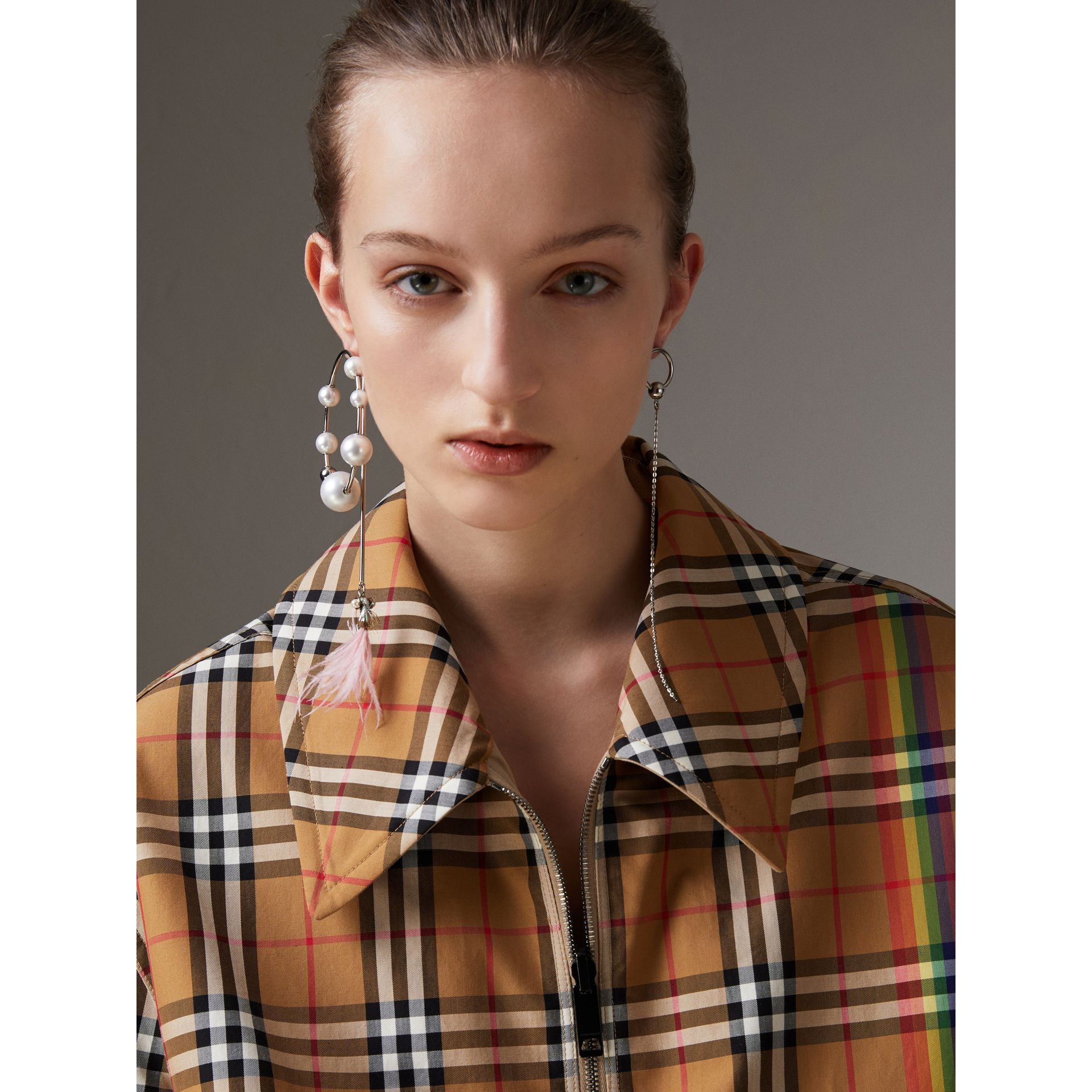Rainbow Vintage Check Harrington Jacket in Antique Yellow/rainbow | Burberry Australia - gallery image 1
