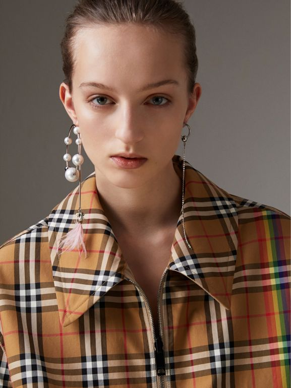 Rainbow Vintage Check Harrington Jacket in Antique Yellow/rainbow - Women | Burberry - cell image 1