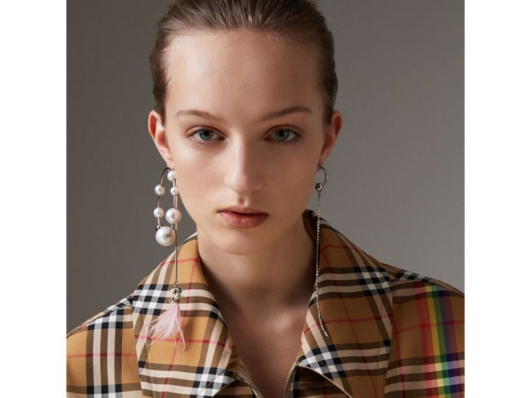 Rainbow Vintage Check Harrington Jacket in Antique Yellow/rainbow - Women | Burberry United Kingdom - cell image 1