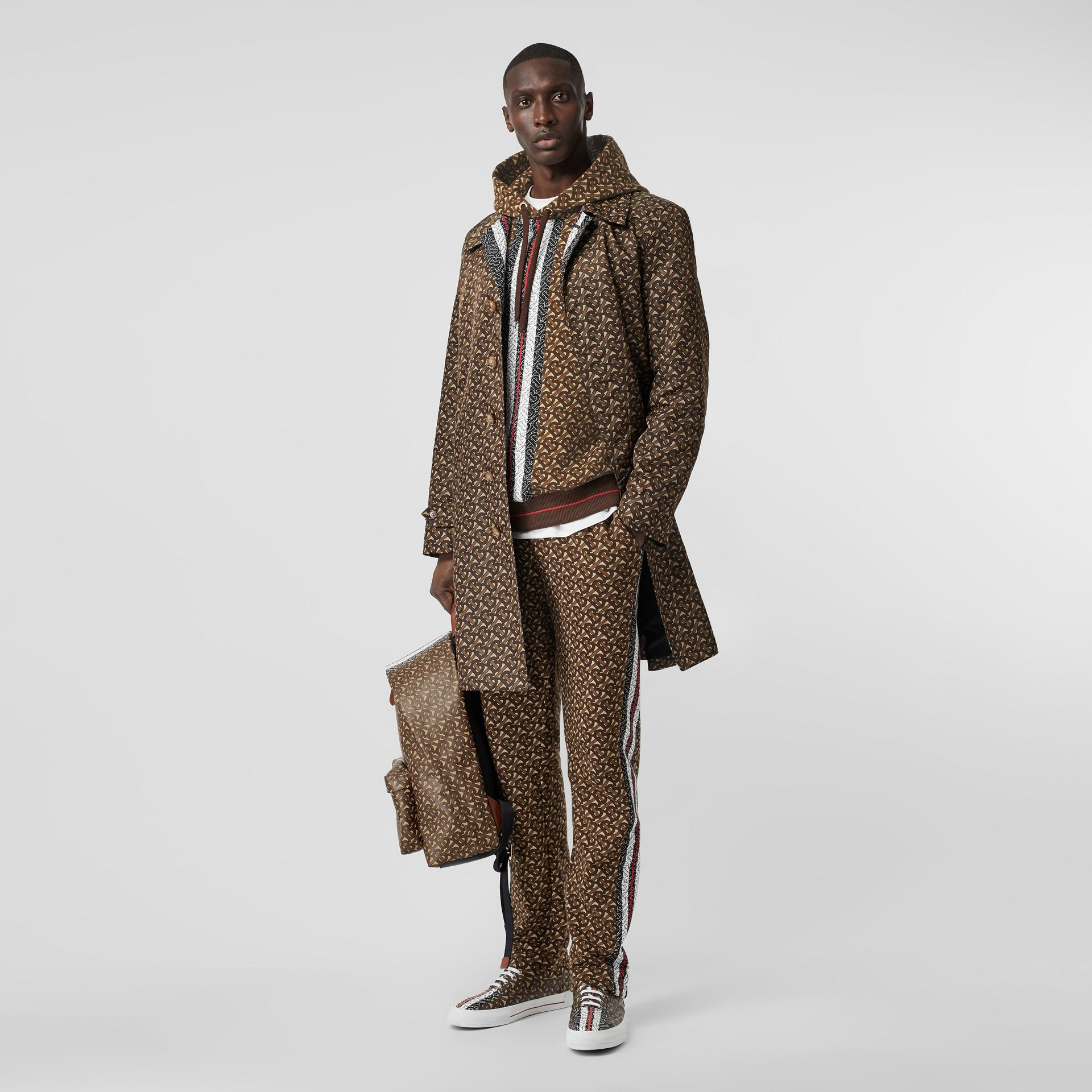 Monogram Stripe Print Cotton Hoodie in Bridle Brown - Men | Burberry Australia - gallery image 4