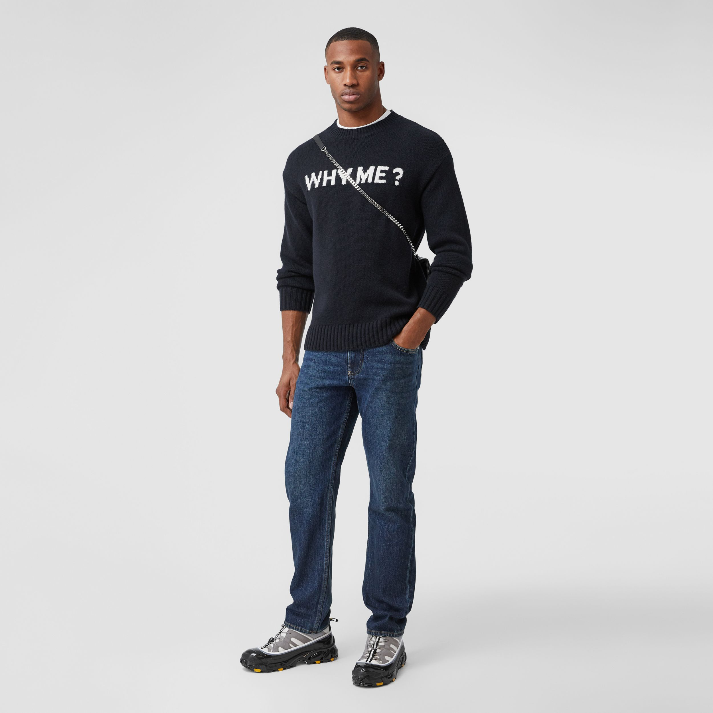 Straight Fit Washed Jeans in Dark Indigo - Men | Burberry - 1