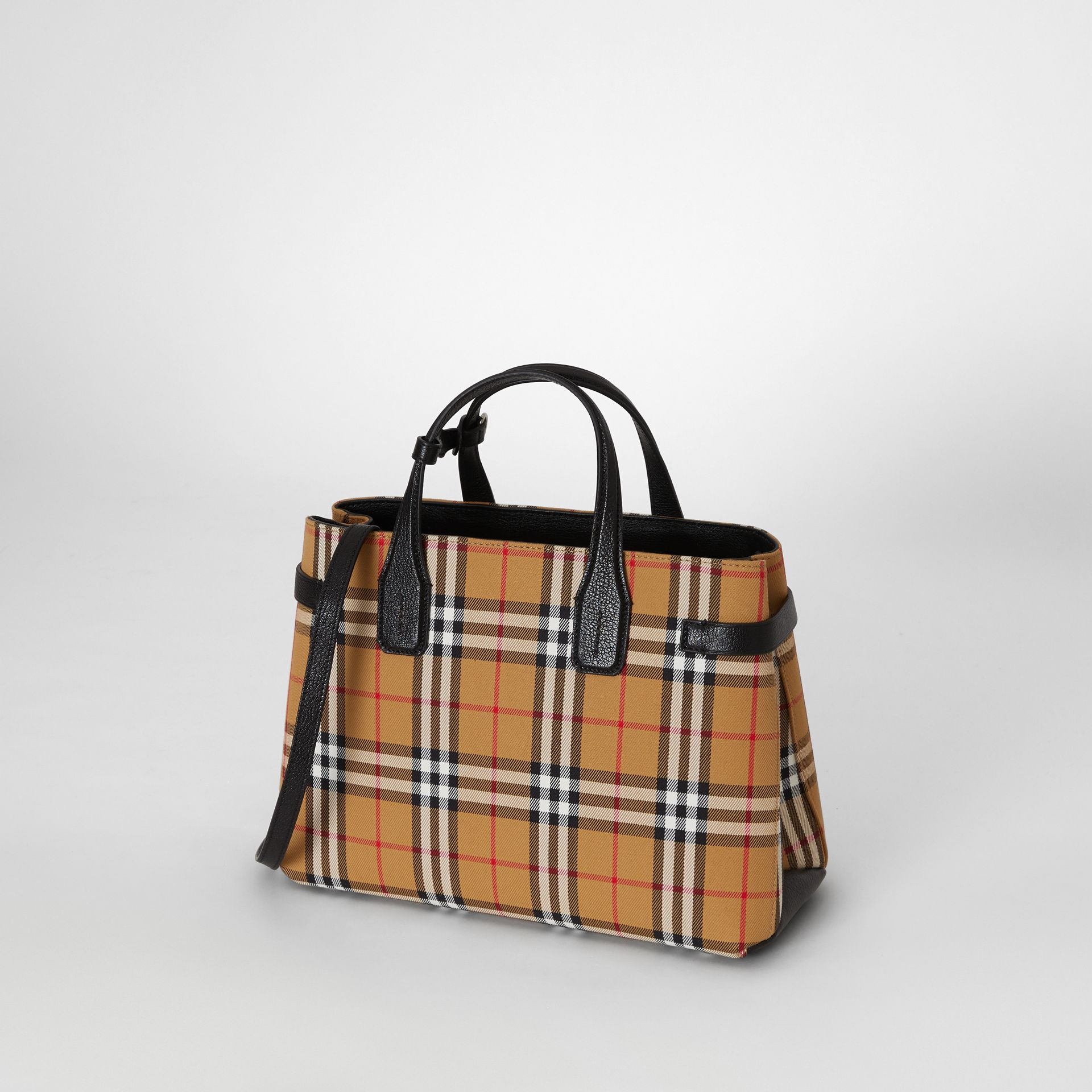 The Banner media in pelle con motivo Vintage check (Nero) - Donna | Burberry - immagine della galleria 3