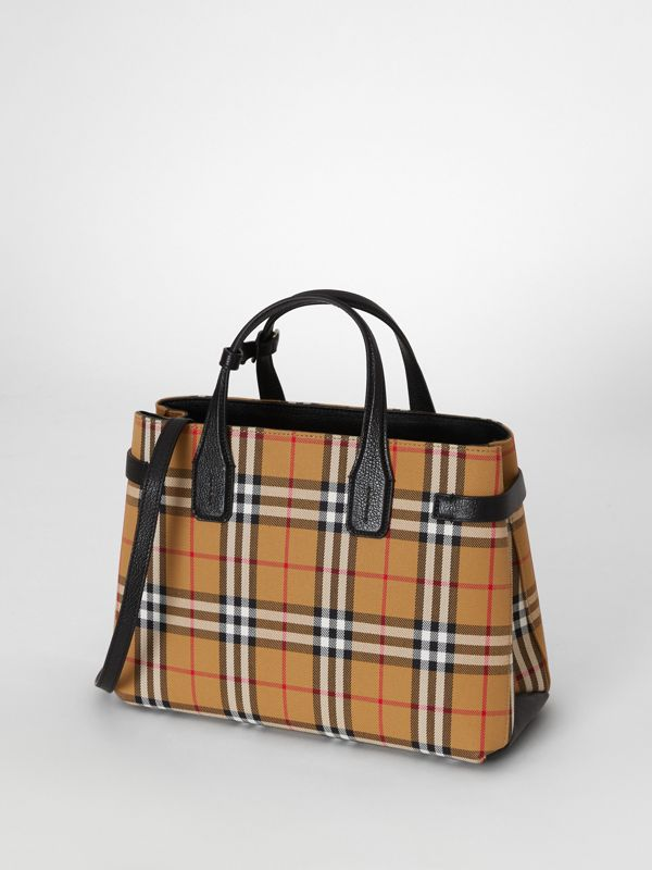 The Banner media in pelle con motivo Vintage check (Nero) - Donna | Burberry - cell image 3