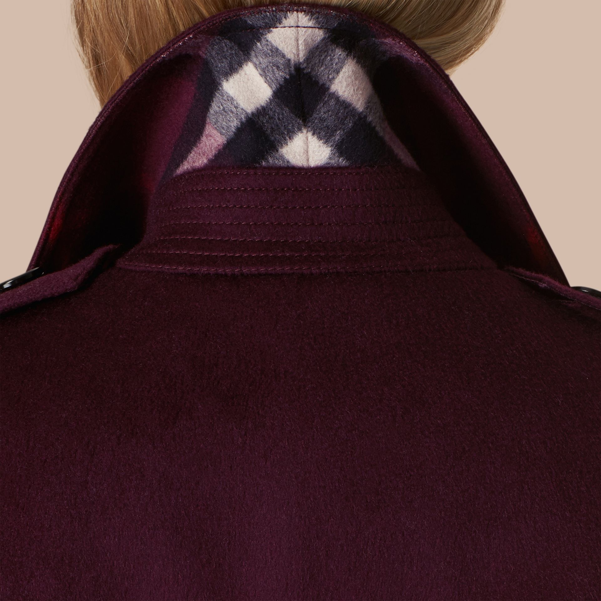 Plum Sandringham Fit Cashmere Trench Coat Plum - gallery image 2