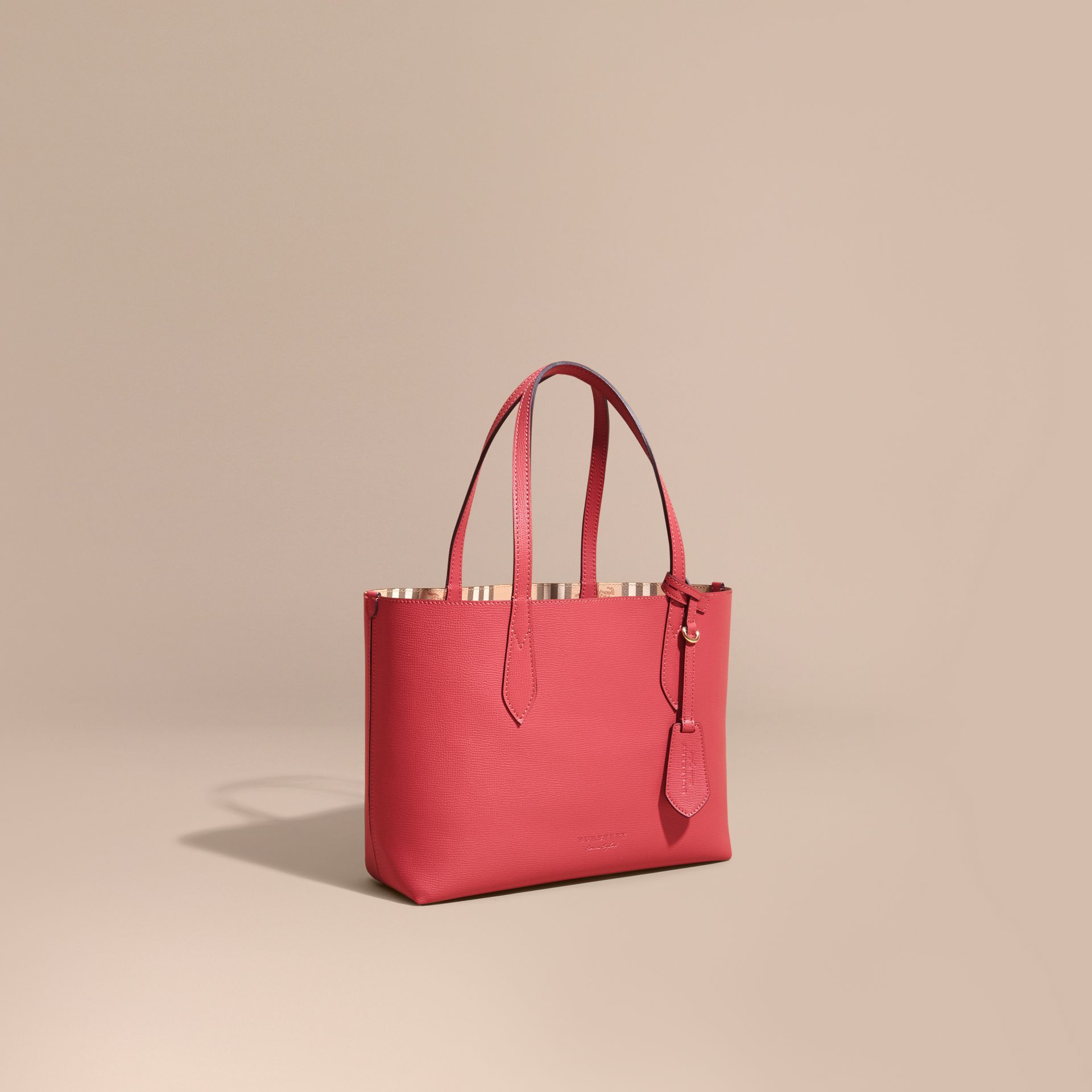 The Small Reversible Tote in Haymarket Check and Leather Coral Red - gallery image 1