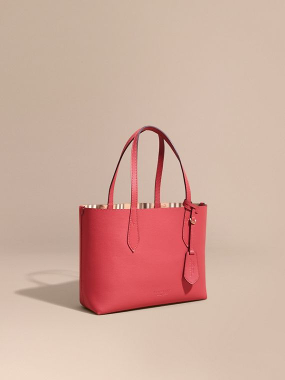 The Small Reversible Tote in Haymarket Check and Leather Coral Red