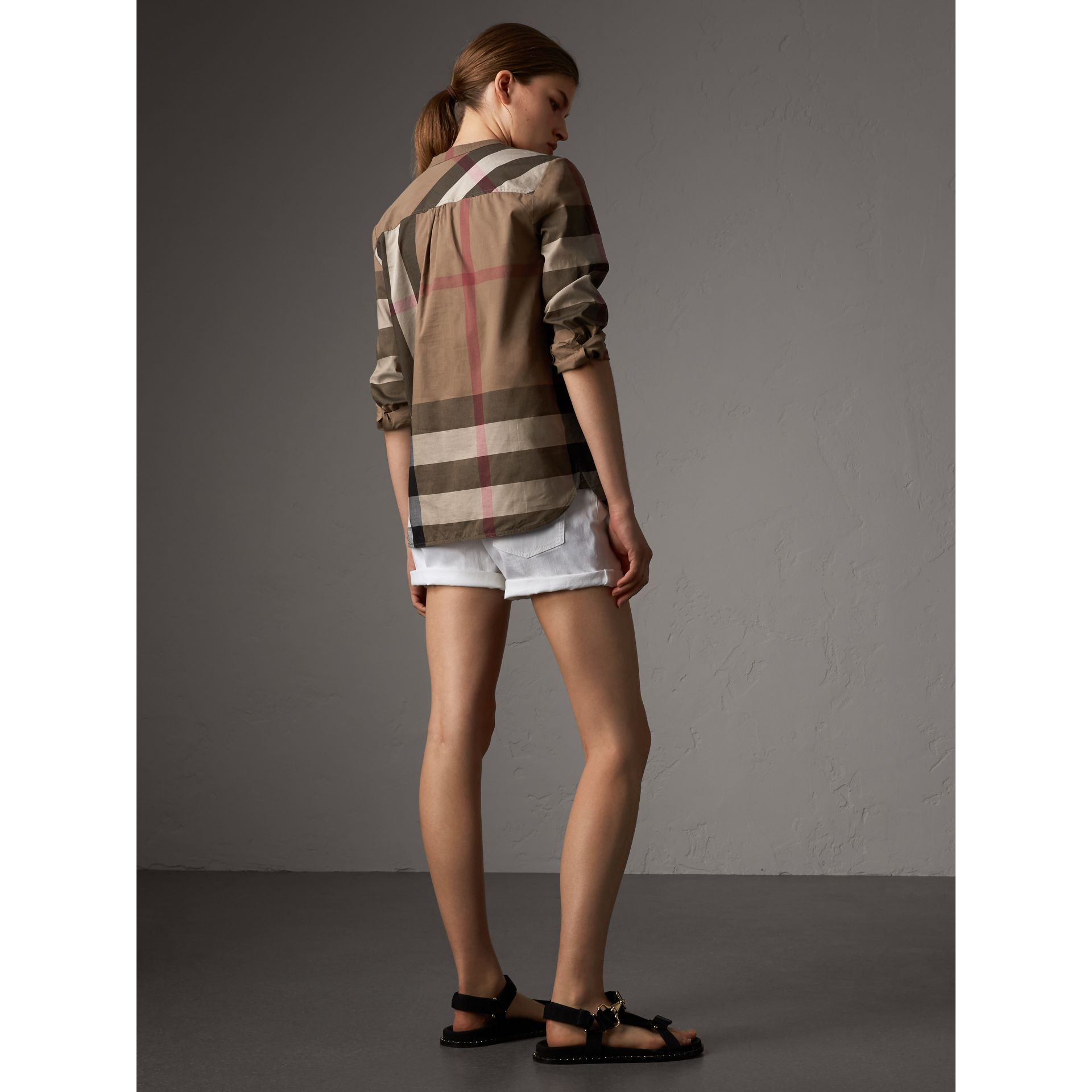 Check Grandad Collar Shirt in Taupe Brown - Women | Burberry Singapore - gallery image 2