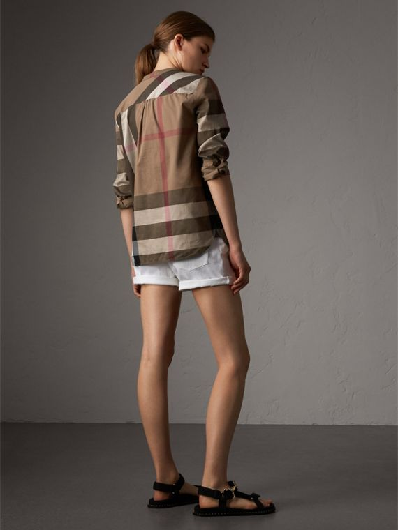 Check Grandad Collar Shirt in Taupe Brown - Women | Burberry Singapore - cell image 2