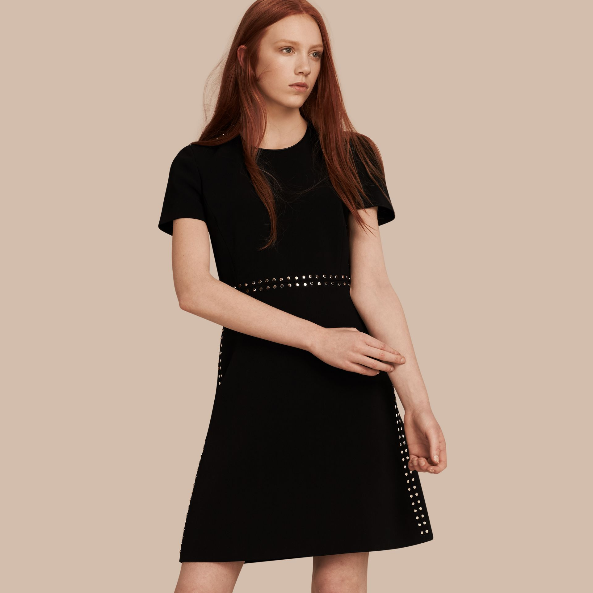 Black Fitted Shift Dress with Studs - gallery image 1