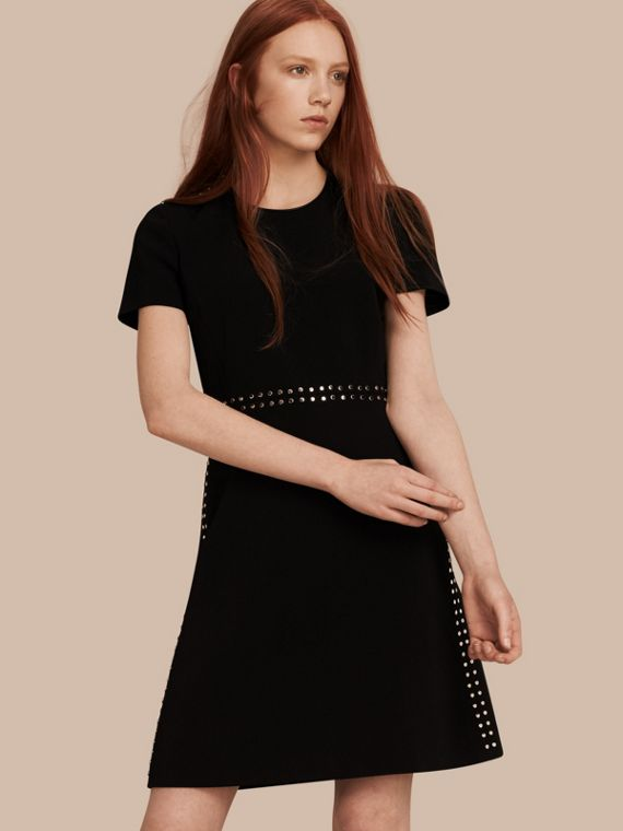 Fitted Shift Dress with Studs