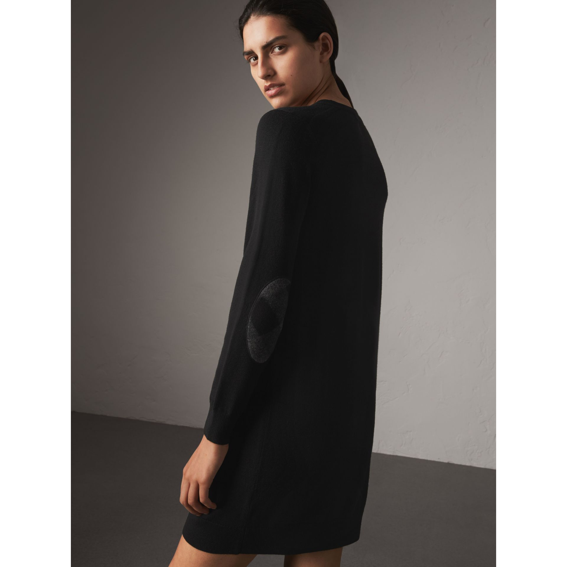 Check Elbow Detail Merino Wool Sweater Dress in Black - Women | Burberry - gallery image 3